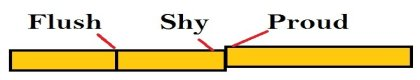 Difference between flush, shy and proud
