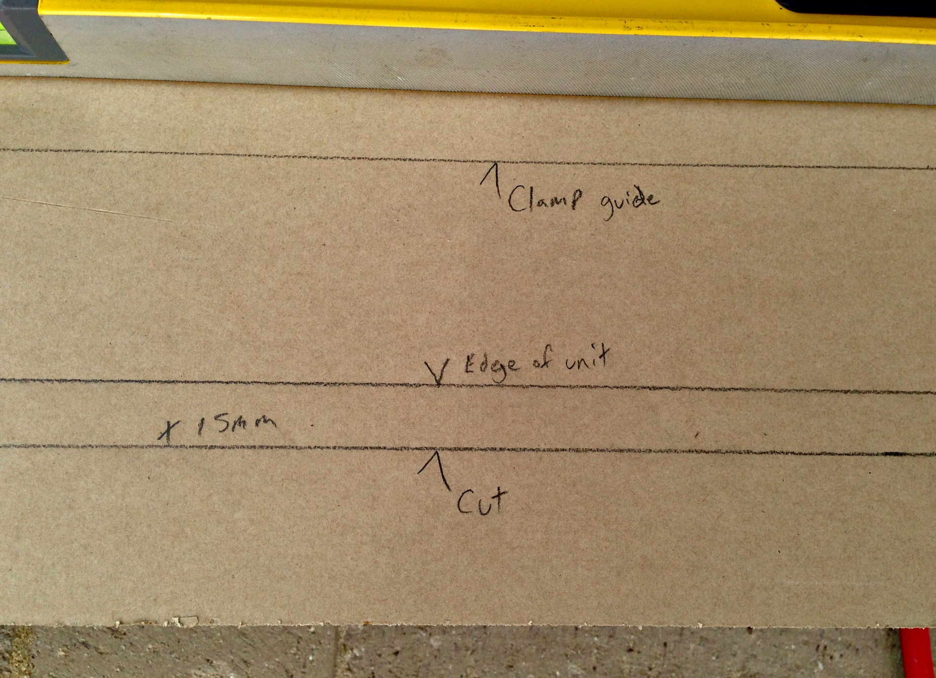 Put masking tape on your worktop to make marking it easier