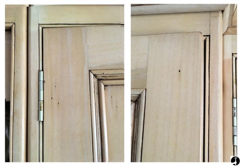 Adjust a door by tightening the hinge screws