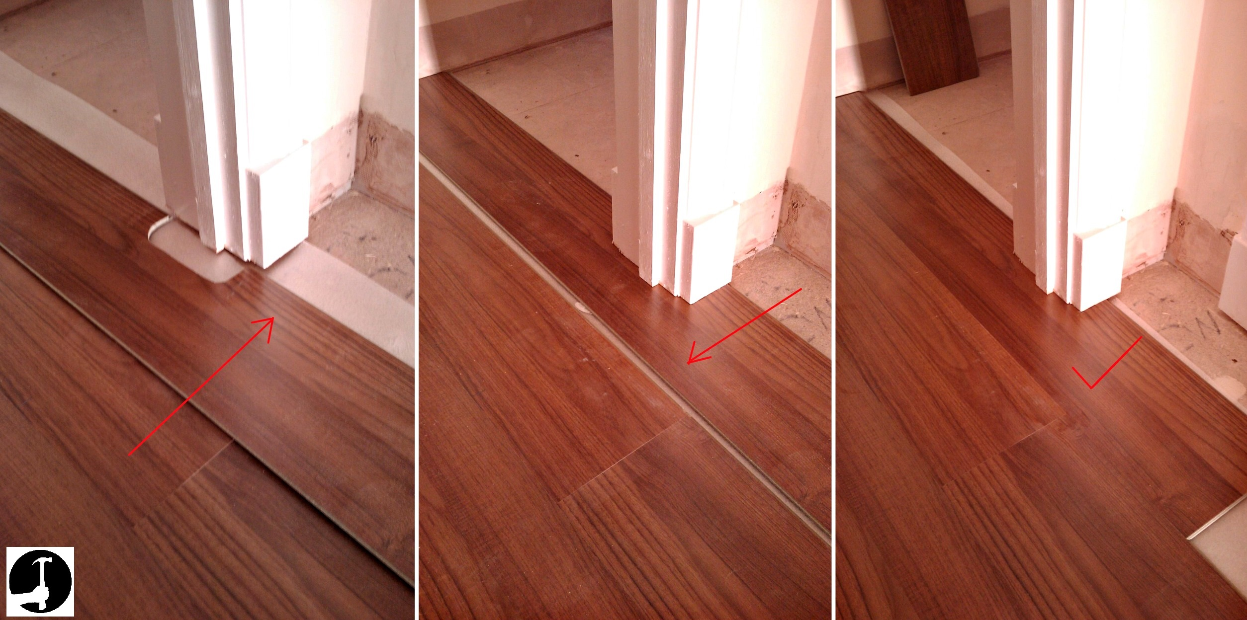 Laying laminate in a doorway How to install laminate flooring in a bathroom
