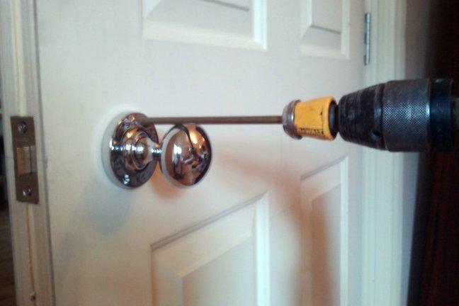 how to screw a door knob on