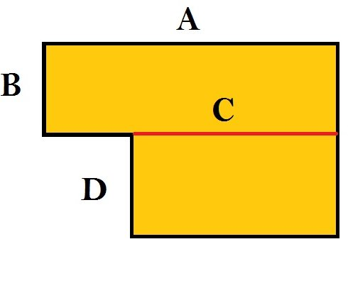 how to calculate L shaped square area
