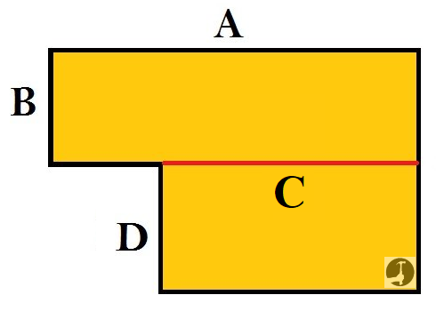 How to calculate the square area of a L shaped room