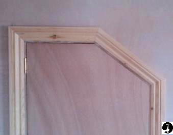 Architrave fitted to angled door