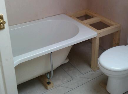 Build a solid DIY timber frame work to support the edge of the bathtub and fix the new bath panels to